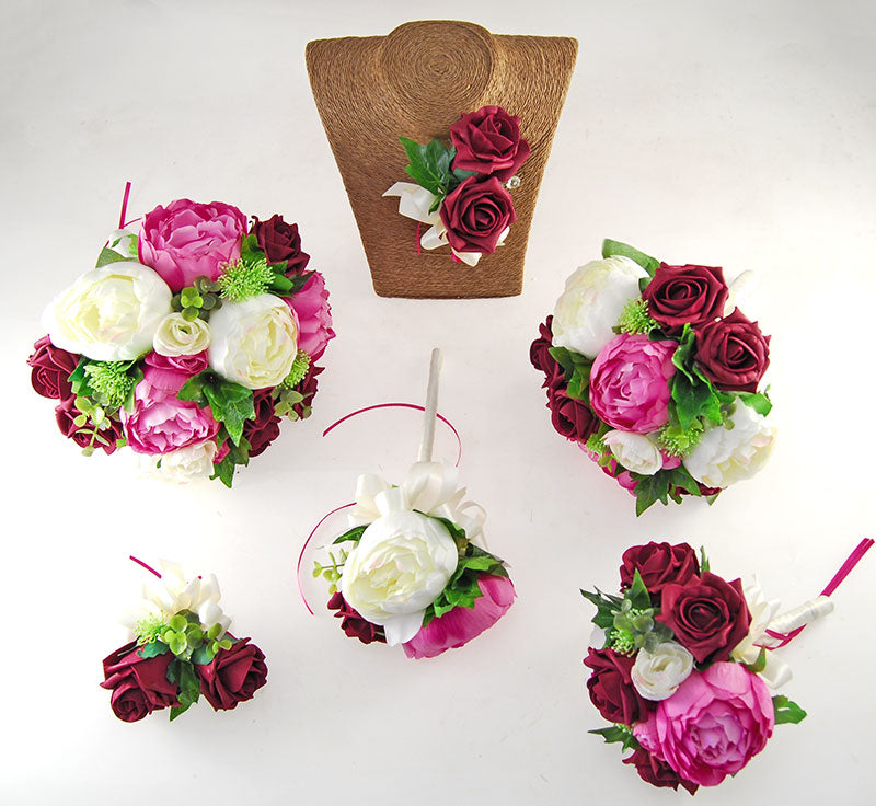 Pink, Ivory Silk Peony & Burgundy Foam Rose Grace Wedding Flower Package