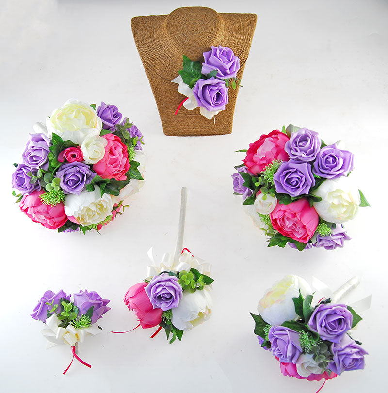 Pink, Ivory Silk Peony & Lilac Foam Rose Grace Wedding Flower Package