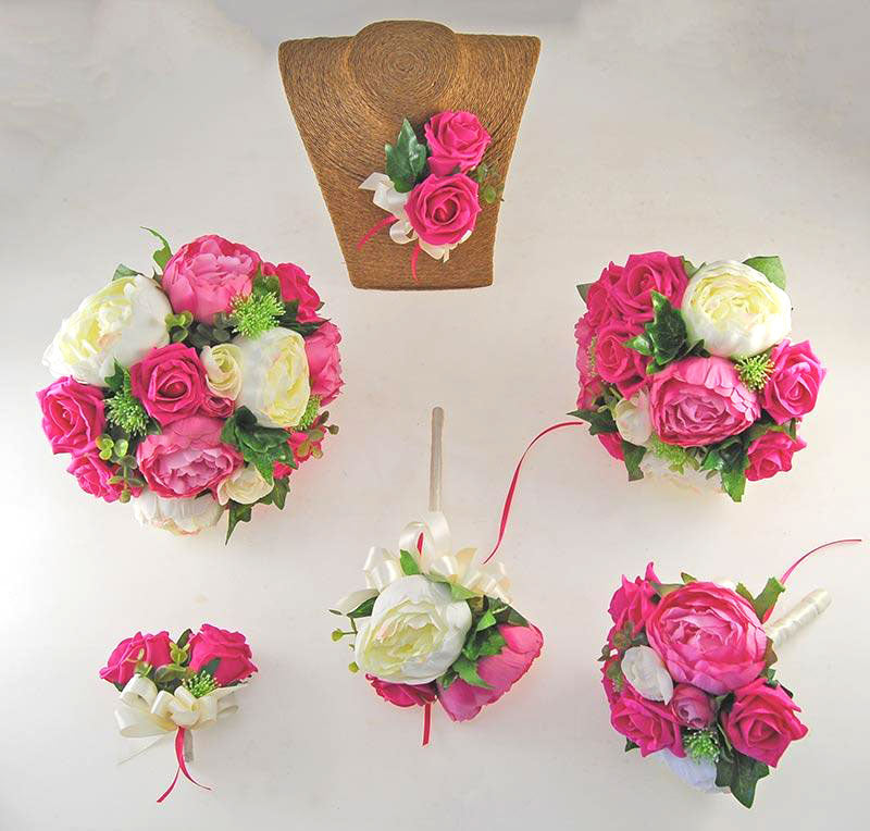 Pink & Ivory Silk Peony & Foam Rose Grace Wedding Flower Package