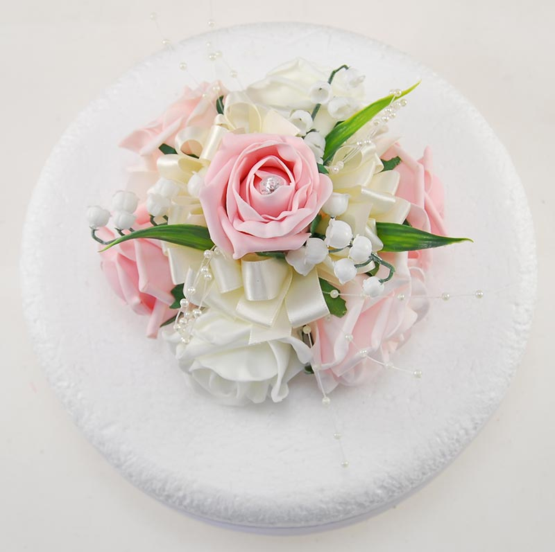 Pink, Ivory Rose Wedding Cake Topper with Lily of the Valley & Pearls