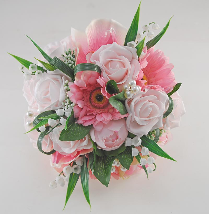 Pink Rose, Gerbera, Orchid & Lily of the Valley Bridal Bouquet