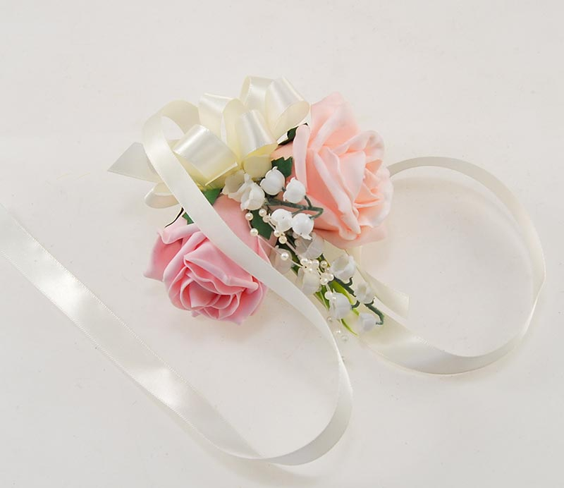 Pink Rose & Lily of the Valley Pearl Ribbon Tied Wrist Corsage