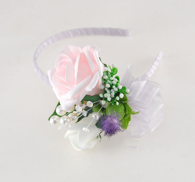 Pink Rose, Thistle, Pearl & Crystal Wedding Hair Band