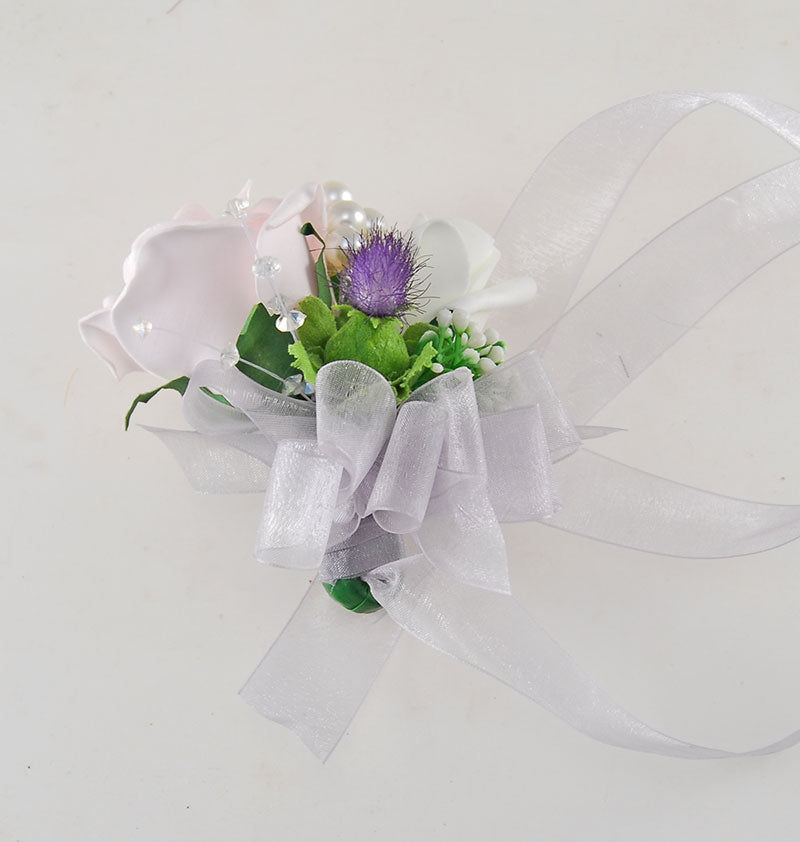 Pink Rose, Thistle, Pearl & Crystal Wedding Wrist Corsage