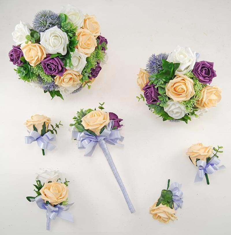 Plum & Mango Foam Rose Molly Foliage Wedding Flower Package