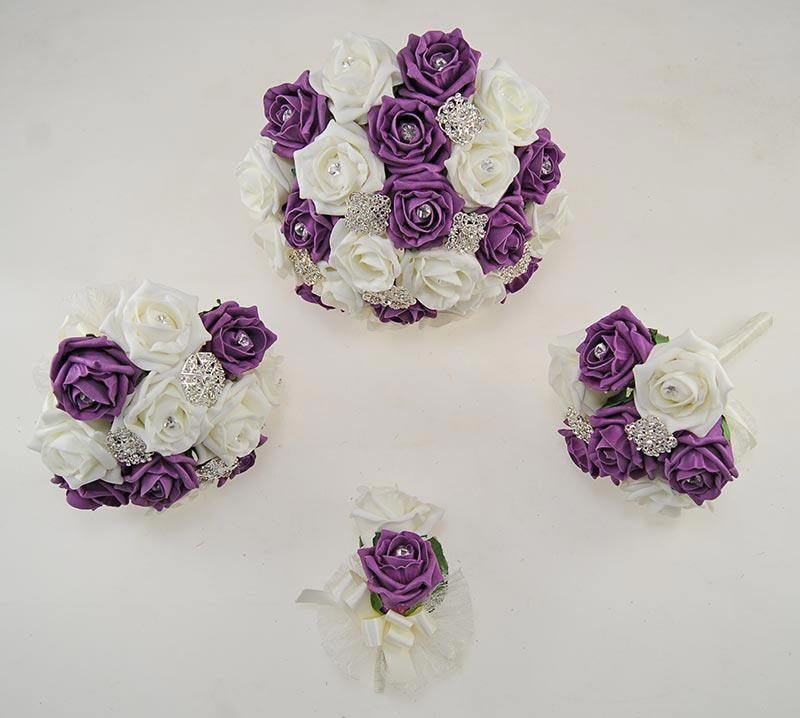 Plum & Ivory Foam Rose Classic Diamante Brooch Wedding Flower Package