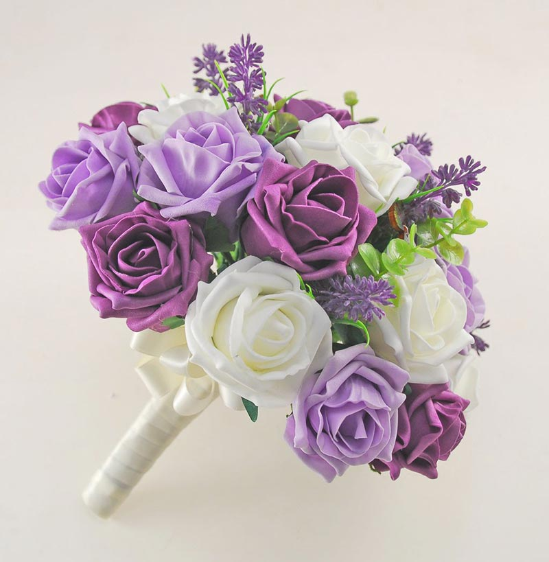 Plum, Lilac & Ivory Rose, Butterfly and Lavender Wedding Flower Package with Brides Bouquet, Bridesmaids Posy, Flower Girl Posy, Grooms Buttonhole