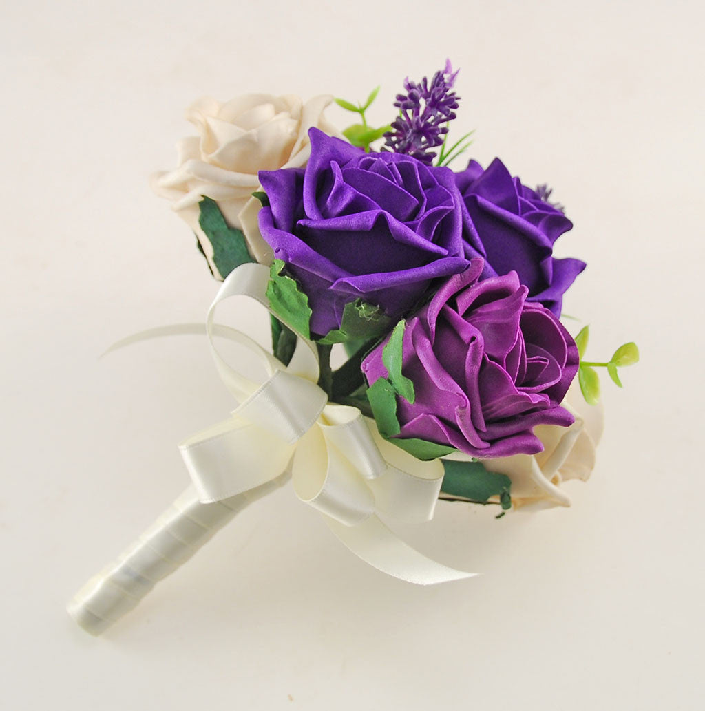 Plum Purple Mocha And Cadbury Rose Butterfly Lavender Wedding Flower Package