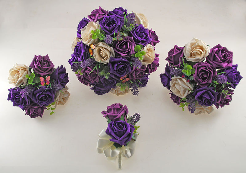 Plum Purple, Mocha and Cadbury Purple Rose, Butterfly and Lavender Wedding Flower Package