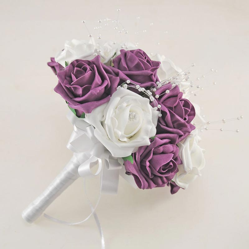 Plum Purple and White Diamante Foam Rose and Brooch Wedding Flower Package with Brides Bouquet, Bridesmaids Posies, Grooms Buttonhole