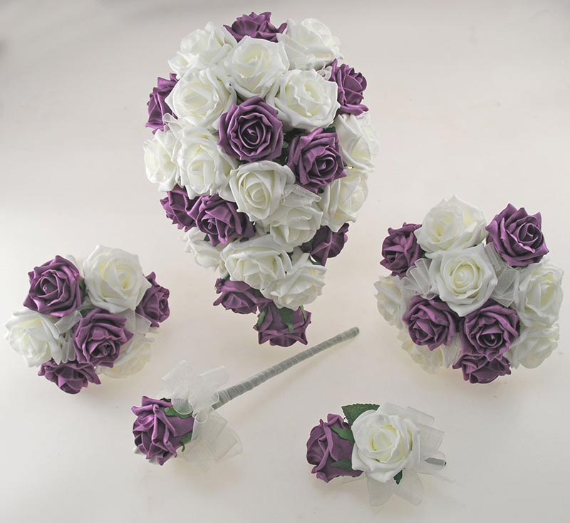 Plum Purple and Ivory Foam Rose Wedding Shower Package with Brides Shower Bouquet, Bridesmaids Posy, Young Maids Posy, Flower Girl Wand & Grooms Buttonhole