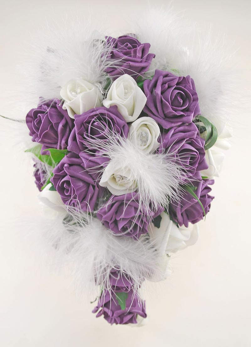 Rebecca Shower Package in Ivory Diamante Roses, Ivory Feathers and Plum Foam Roses
