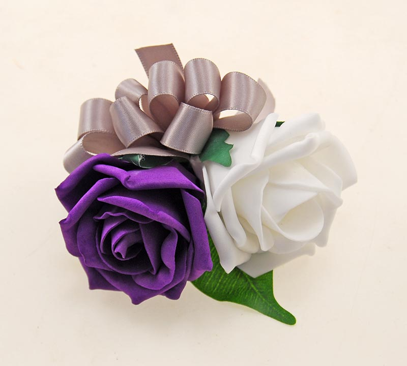 Purple & White Foam Rose Wedding Day Mothers Pin Corsage