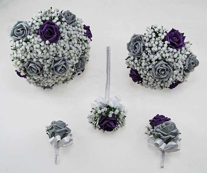 Purple, Grey Foam Rose & Artificial Gypsophila Yula Wedding Package