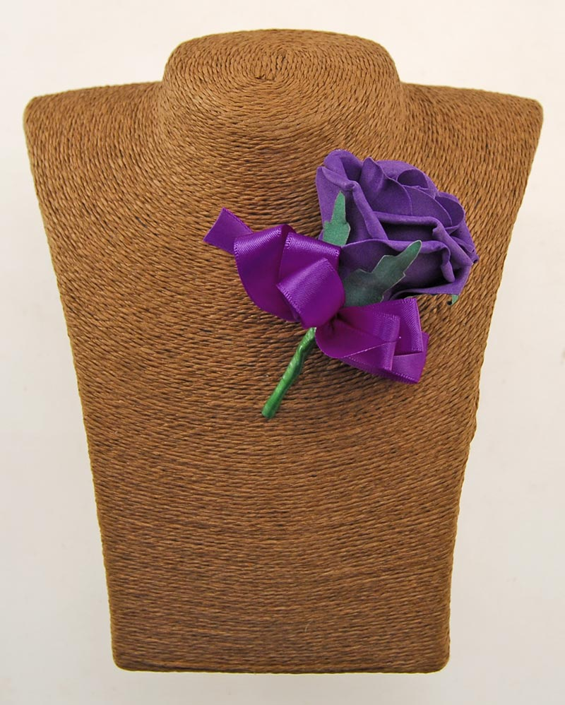 Purple Guest Rose Wedding Buttonhole With Purple Bow