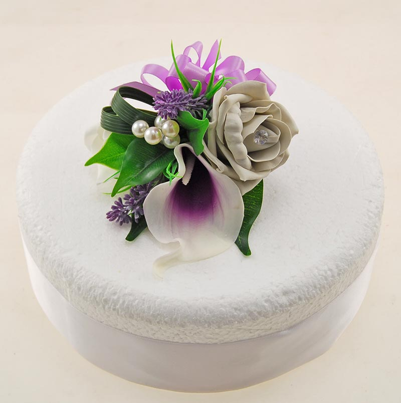 Grey Ivory Diamante Rose, Purple Calla Lily, Lavender & Pearl Wedding Cake Spray