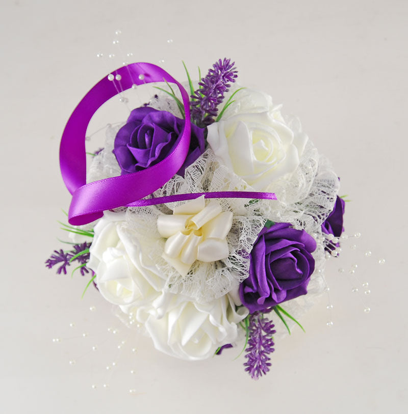 Purple & Ivory Rose, Lavender, Lace & Pearl Flower Ball Pomander