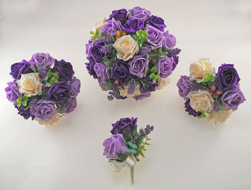 Purple, Lilac & Cream Rose, Butterfly and Lavender Wedding Flower ...