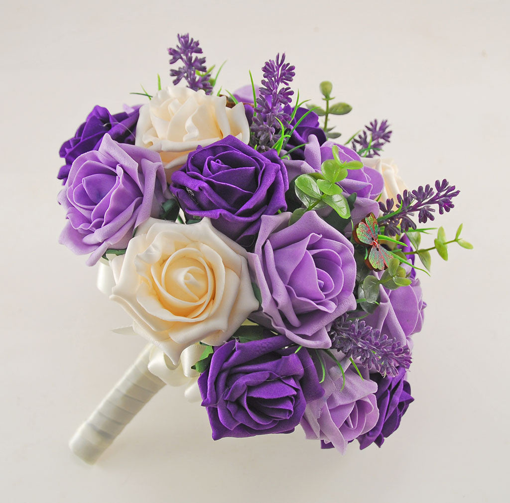 Wedding Flowers Lilac: Purple, Lilac & Cream Rose, Butterfly And Lavender Wedding