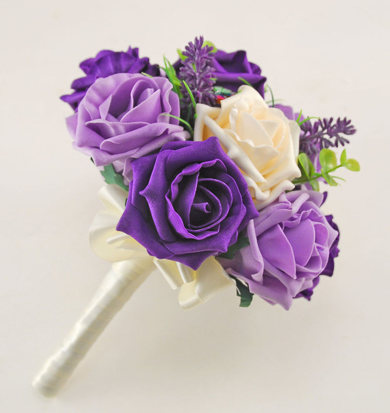 Purple, Lilac & Cream Rose, Butterfly and Lavender Wedding Flower Package with Brides Bouquet, Bridesmaids Posy, Flower Girl Posy, Grooms Buttonhole