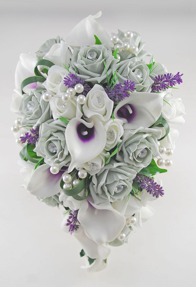 Purple Lily & Grey Rose Bridal Shower Bouquet with Diamantes & Pearls