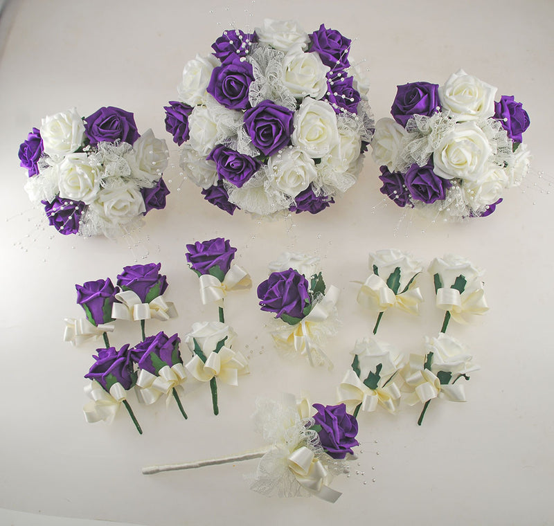 Purple and Ivory Rose Wedding Flower Package, Pearl Strands & Lace Brides Bouquet, Bridesmaids Posies, Flower Girl Wand, Groom, Guest Buttonholes