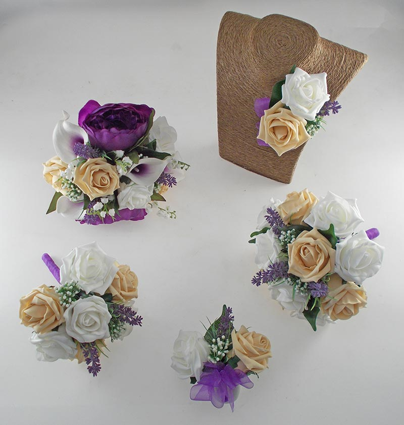 Purple Peony, Calla Lily, Pale Gold Rose & Ivory Rose Phoebe Wedding Flower Package