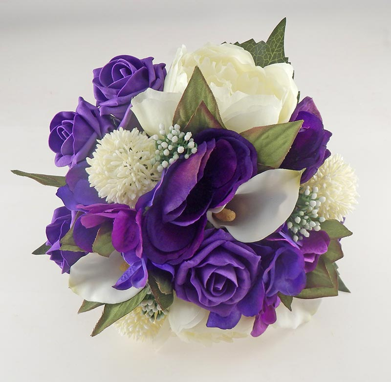 purple rose ivory calla lily peony bridal wedding bouquet