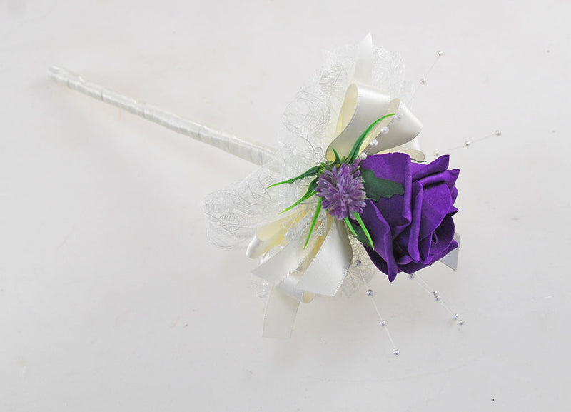 Purple Rose & Lavender Wedding Day Flower Girl Wand