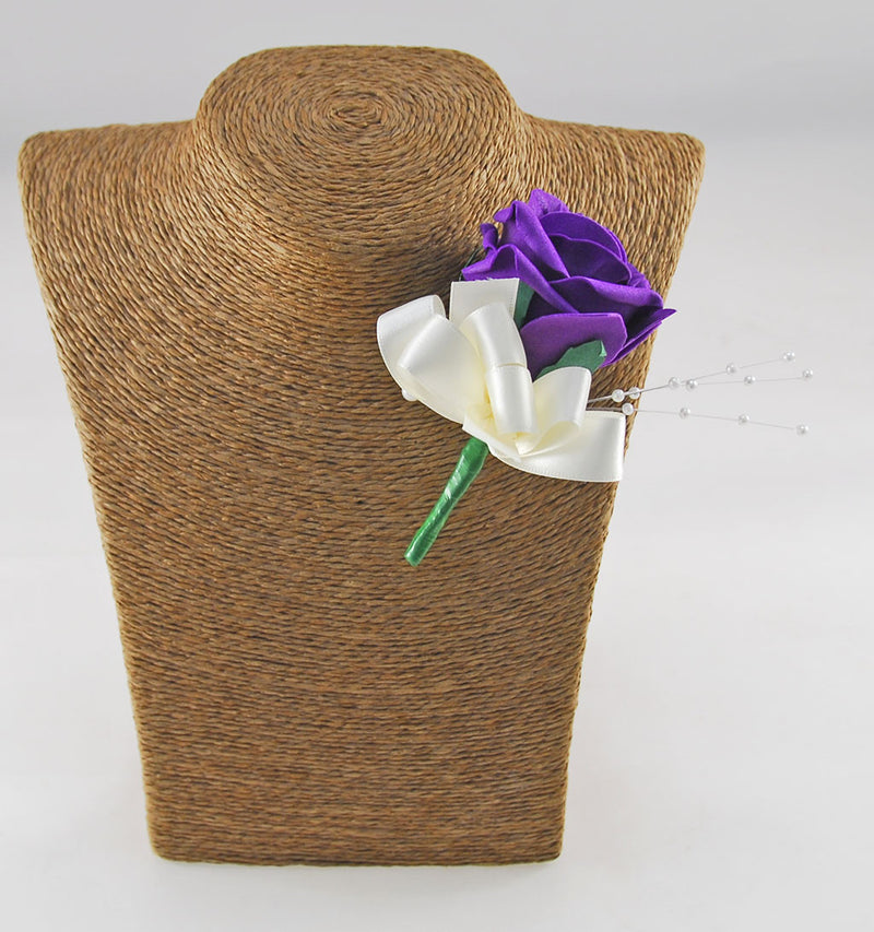 Purple Rose & Pearl Wedding Guest Buttonhole