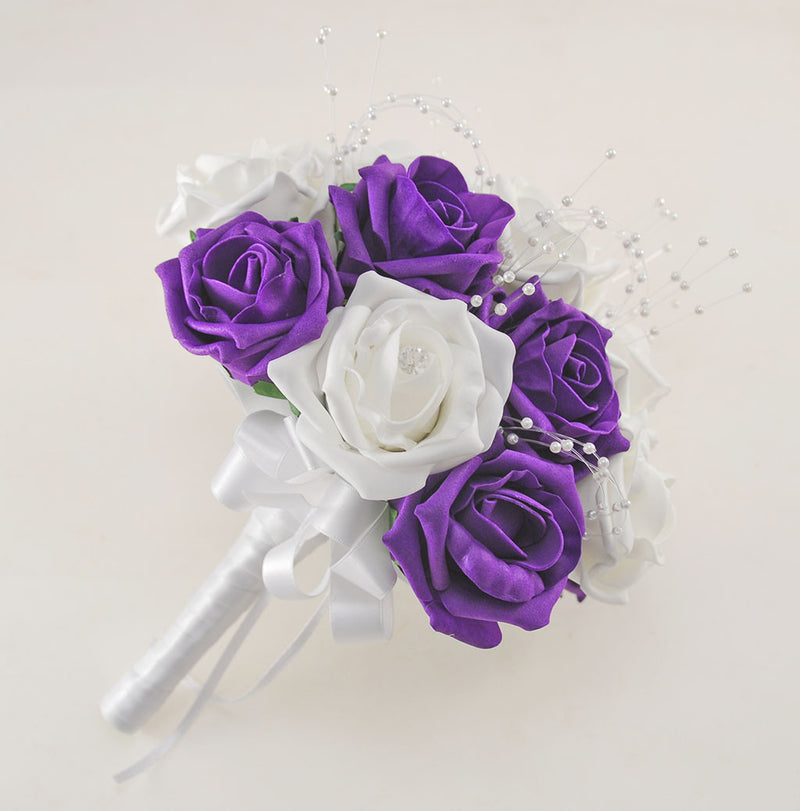 Purple and White Diamante Foam Rose and Brooch Wedding Flower Package with Brides Bouquet, Bridesmaids Posies, Grooms Buttonhole