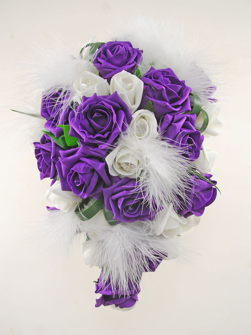 Rebecca Shower Package in Ivory Diamante Roses, Ivory Feathers & Purple Roses