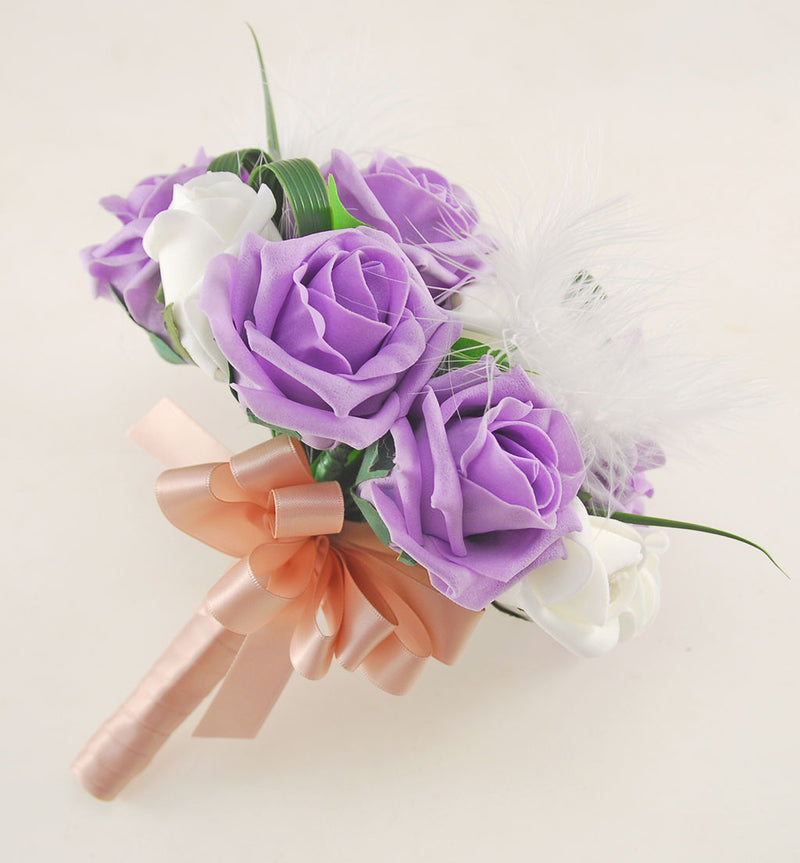 Rebecca Shower Package in Ivory Diamante Roses, Ivory Feathers & Lilac Roses