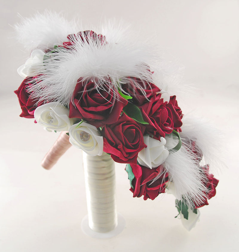 Rebecca Shower Package in Ivory Diamante Roses, Ivory Feathers & Burgundy Roses