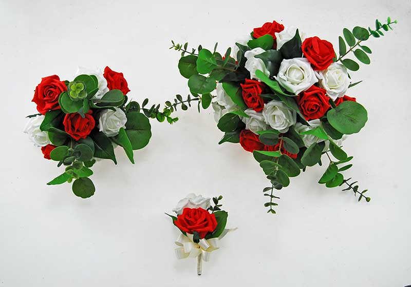 Red & Ivory Foam Rose, Green Eucalyptus Dior Wedding Package