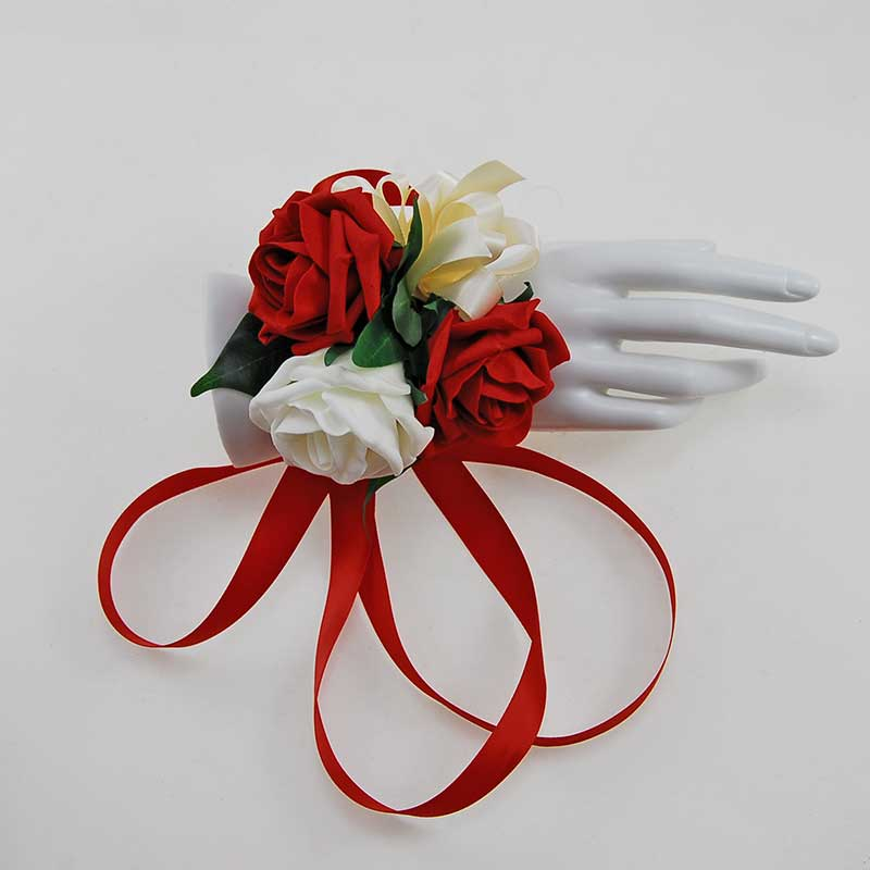 Red & Ivory Foam Rose Red Satin Ribbon Tied Wrist Corsage