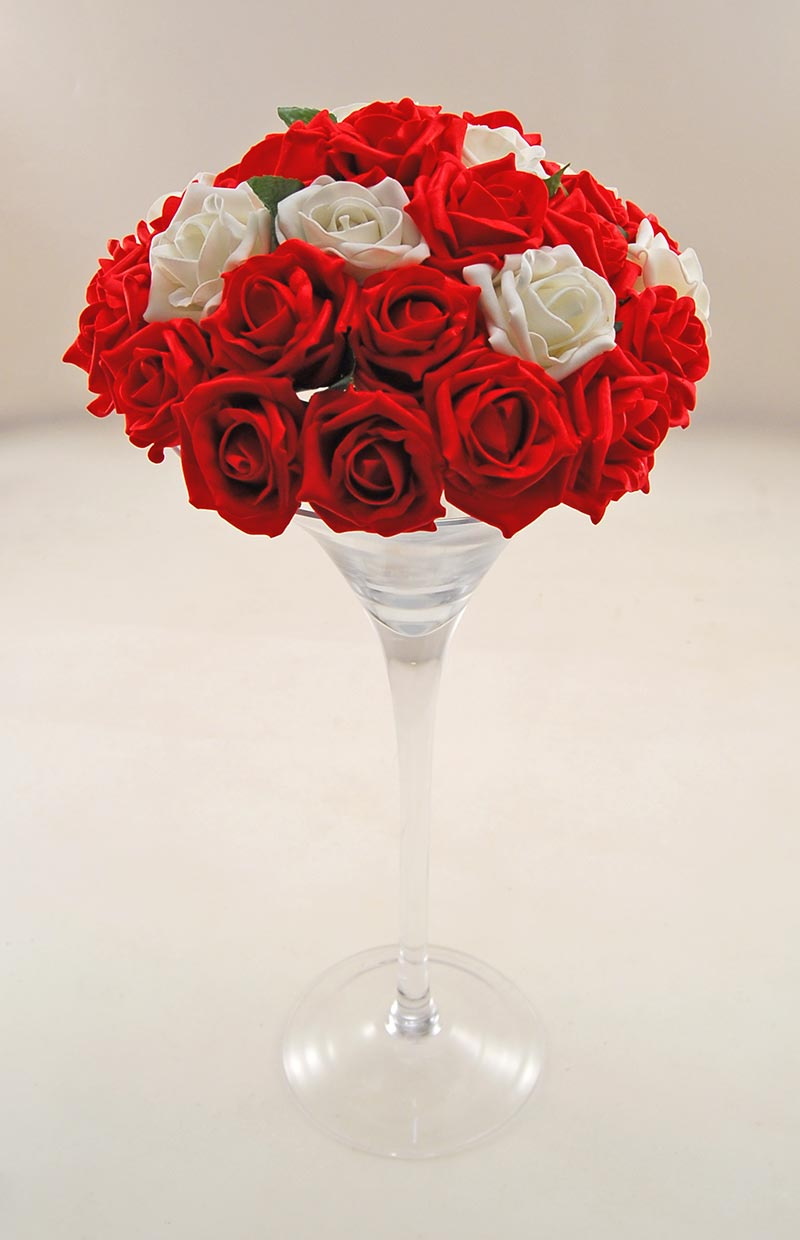 Red & Ivory Rose Martini Glass Wedding Table Arrangement