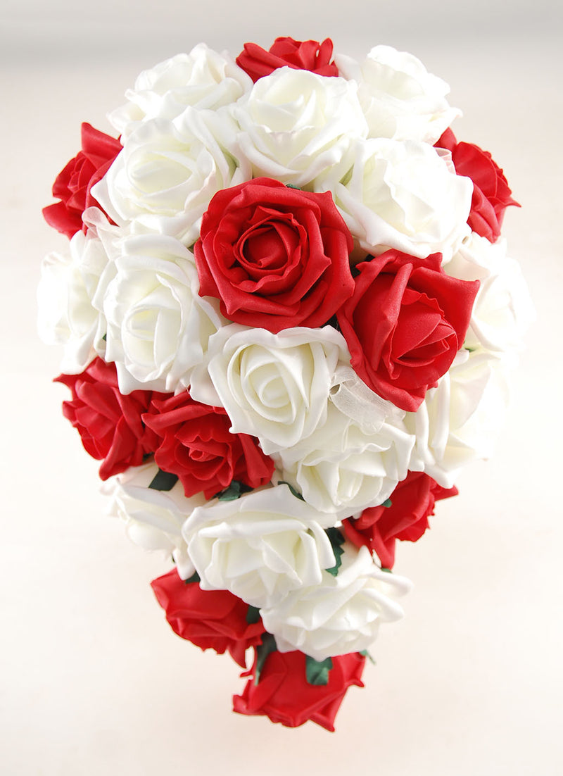 Red and Ivory Foam Rose Wedding Shower Package with Brides Shower Bouquet, Bridesmaids Posy, Young Maids Posy, Flower Girl Wand & Grooms Buttonhole