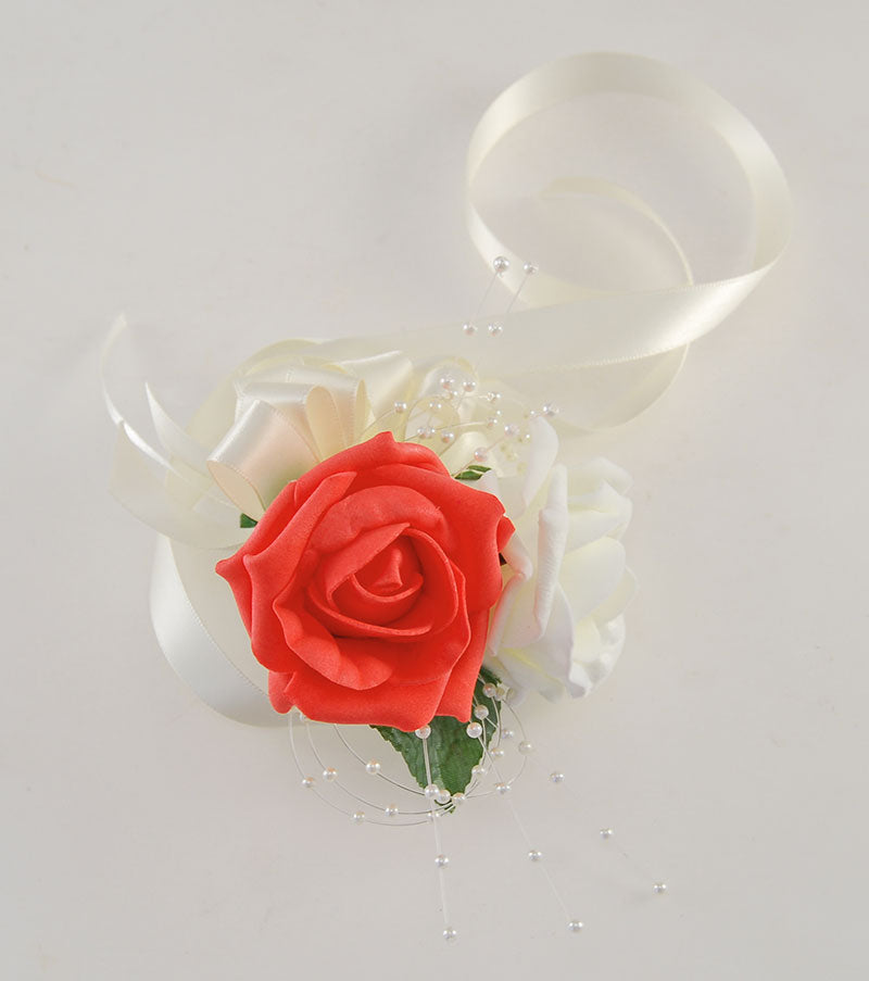 Ribbon Tie Coral & Ivory Rose Pearl Wedding Wrist Corsage