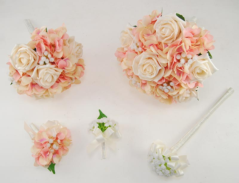 Rihanna Pink Hydrangea, Gypsophila & Cream Rose Wedding Flower Package