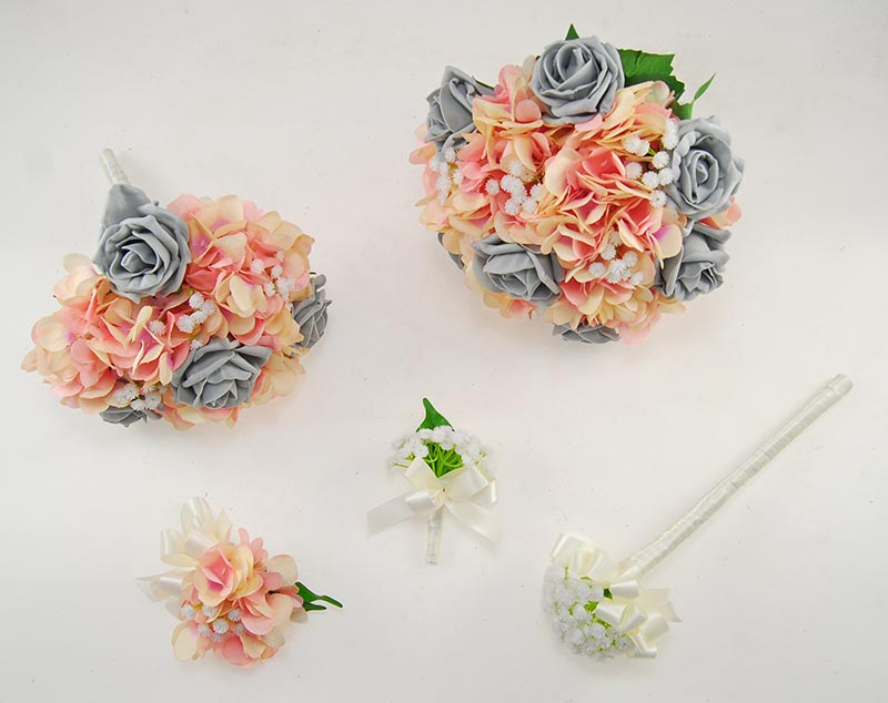 Rihanna Pink Hydrangea, Gypsophila & Dark Grey Rose Wedding Flower Package