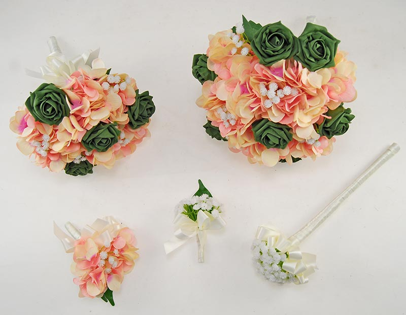 Rihanna Pink Hydrangea, Gypsophila & Forest Green Rose Wedding Flower Package