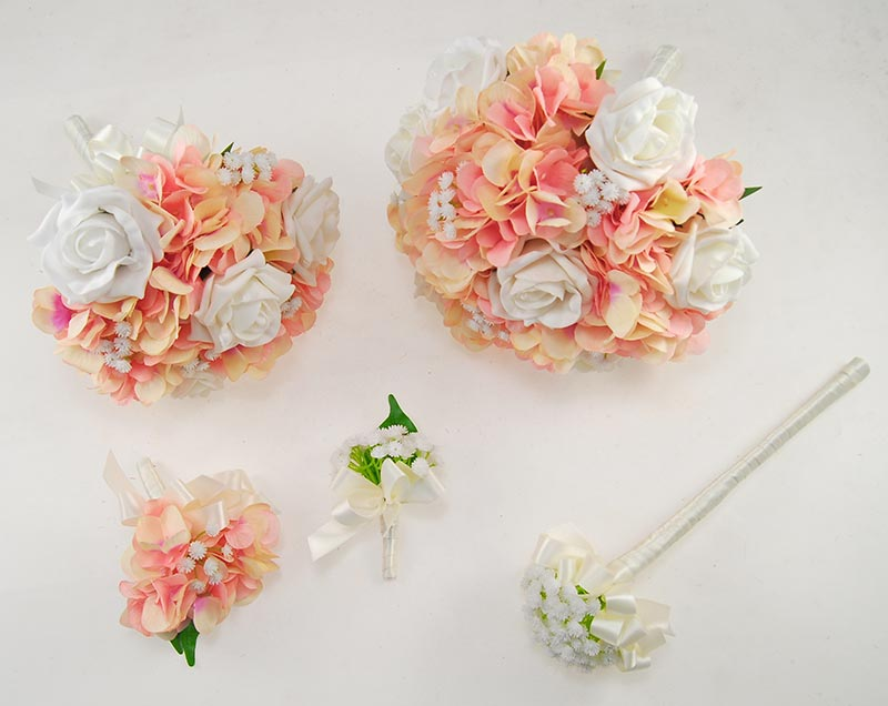 Rihanna Pink Hydrangea, Gypsophila & Ivory Rose Wedding Flower Package