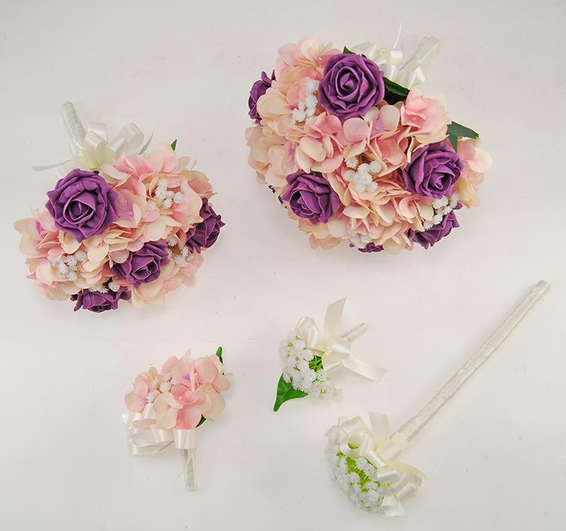 Rihanna Pink Hydrangea, Gypsophila & Plum Rose Wedding Flower Package