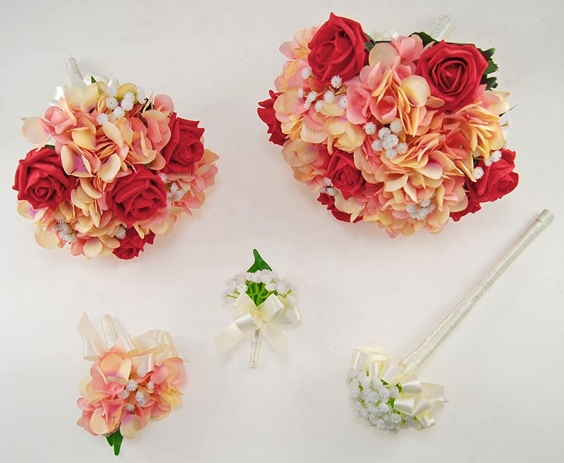 Rihanna Pink Hydrangea, Gypsophila & Red Rose Wedding Flower Package