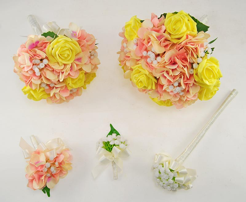 Rihanna Pink Hydrangea, Gypsophila & Yellow Rose Wedding Flower Package