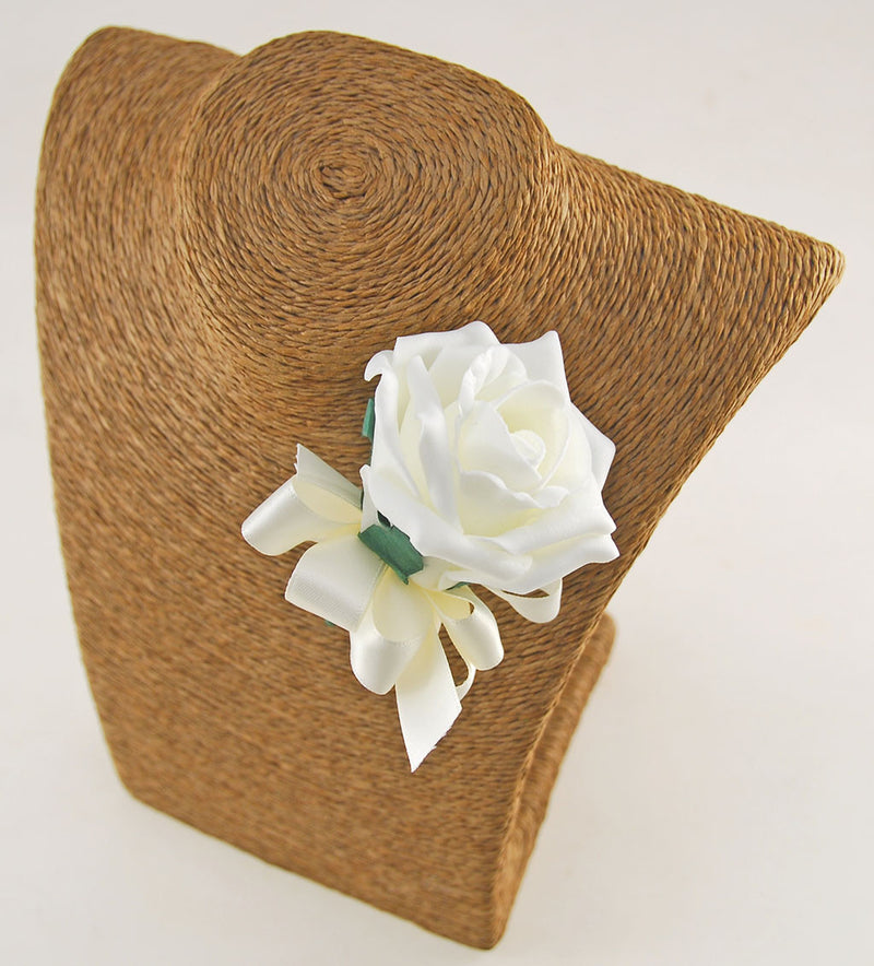 Single Foam Rose Wedding Guest Buttonhole with Satin Bow - Pick Your Own Colour