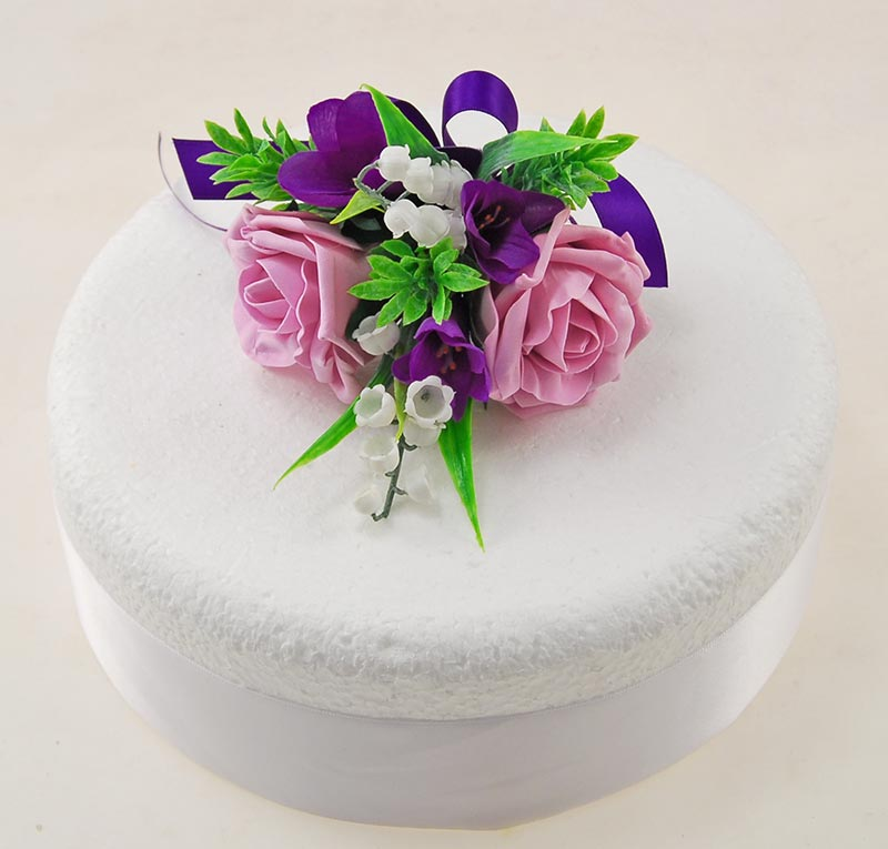 Rose Pink, Purple Silk Feesia, Lily of the Valley Wedding Cake Spray