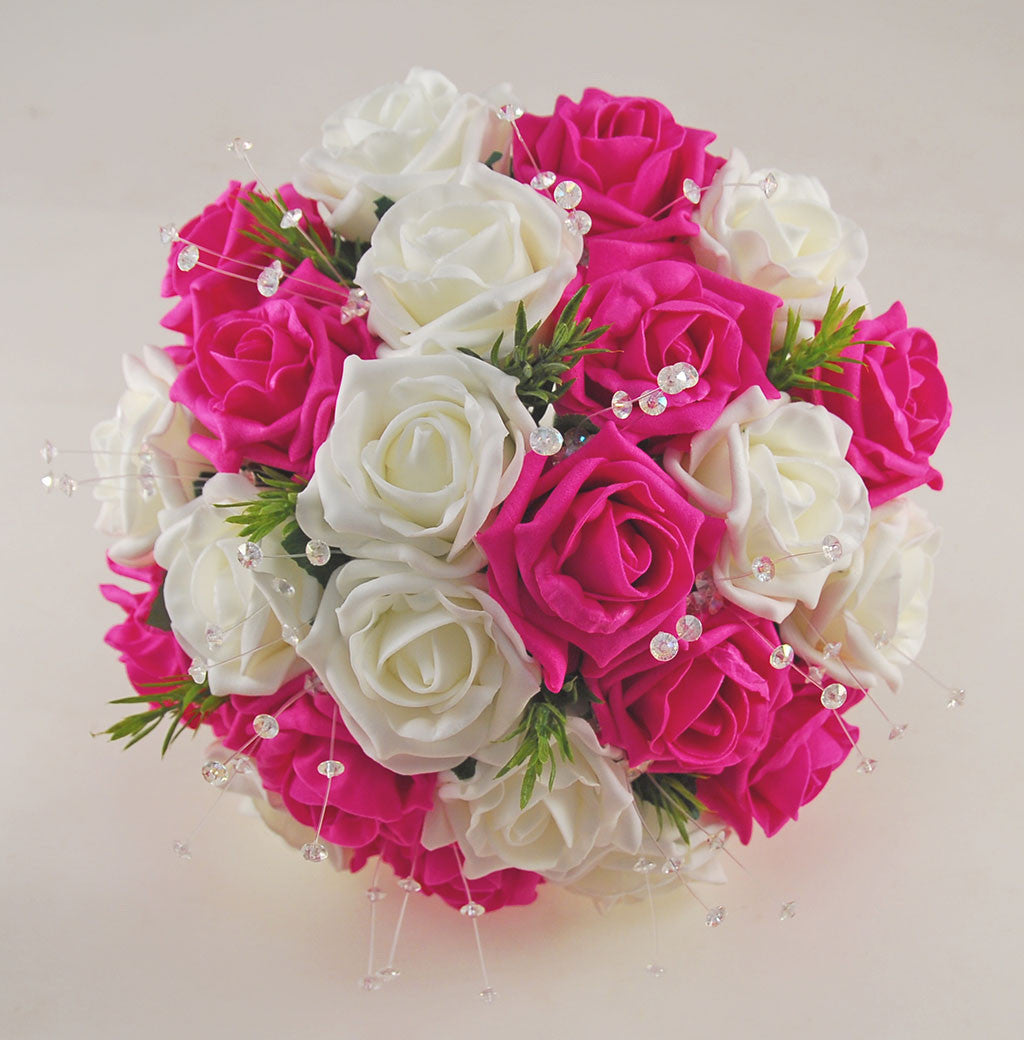 Dark Pink Wedding Flowers: Dark Cerise Pink And Ivory Foam Rose Wedding Flower