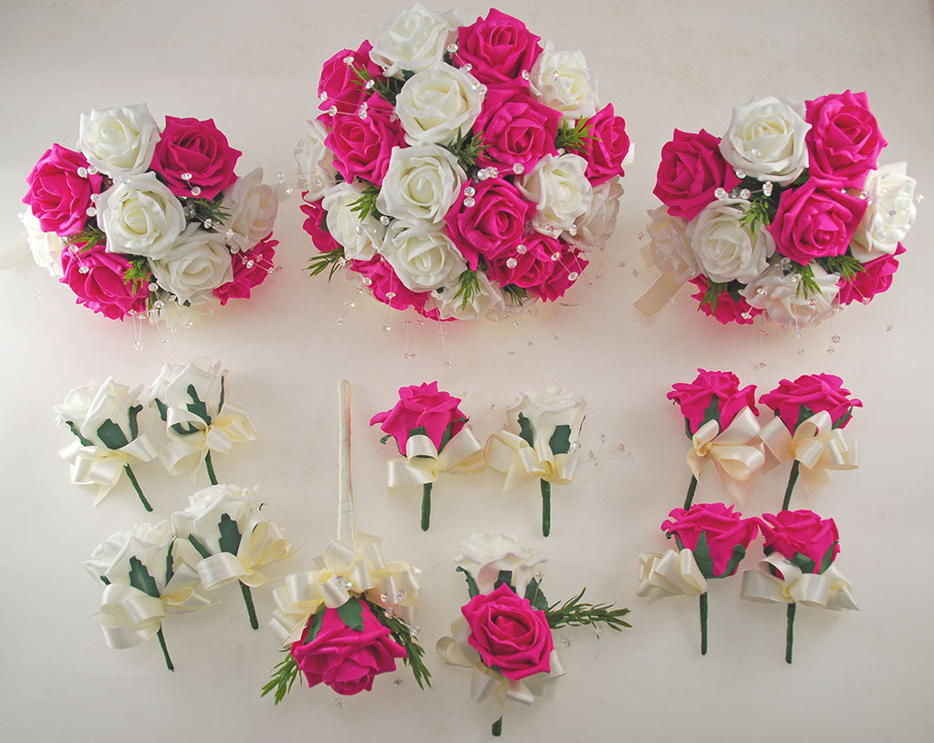 Dark Cerise Pink And Ivory Foam Rose Wedding Flower Package With